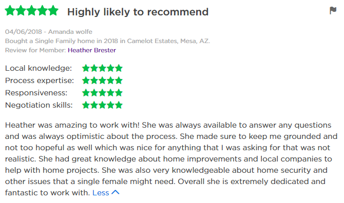Zillow Review of Heather Brester