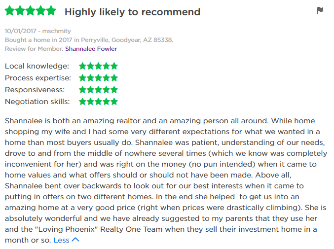 Zillow Review of Shannalee Fowler