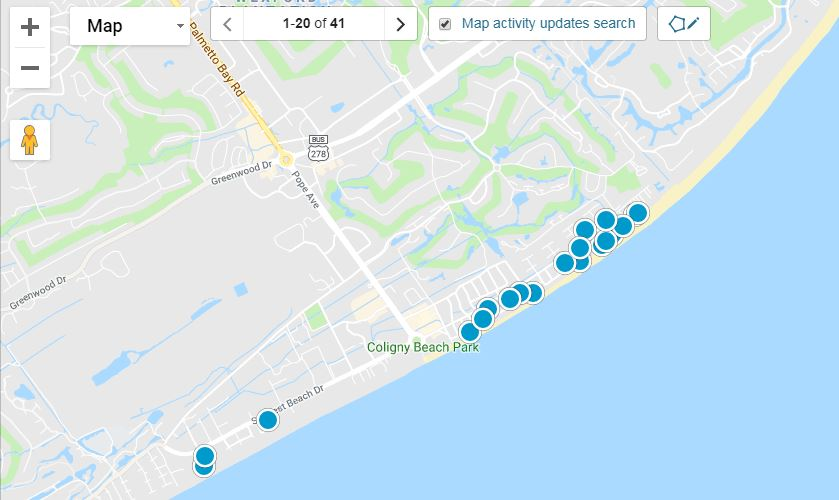 Forest Beach Oceanfront Homes for Sale Map