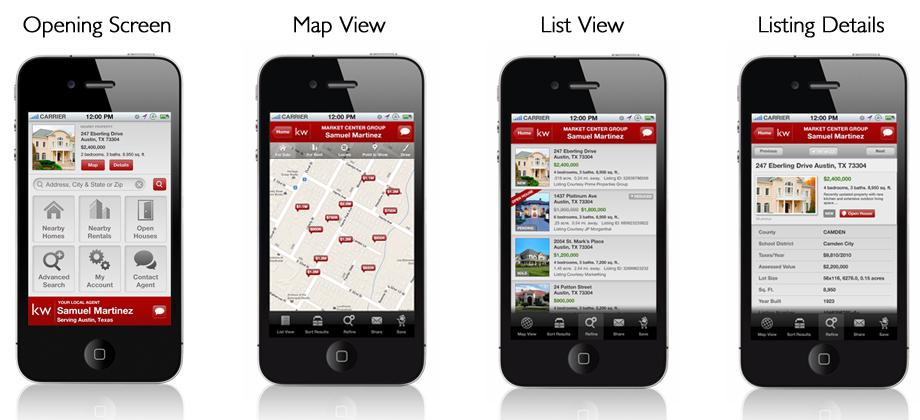 KW Mobile App Screens
