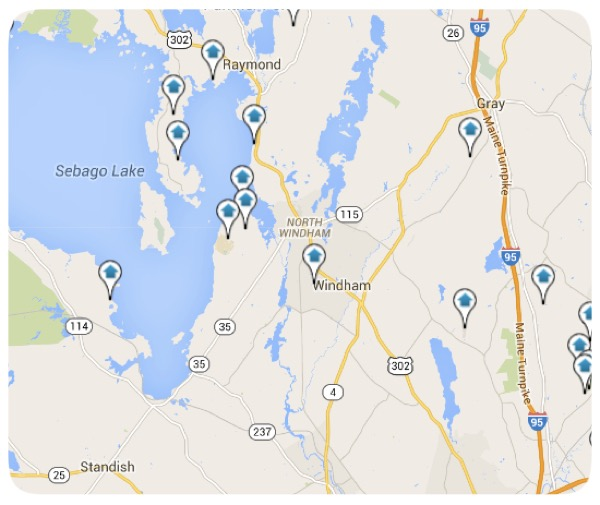 Windham Maine Homes for Sale Map