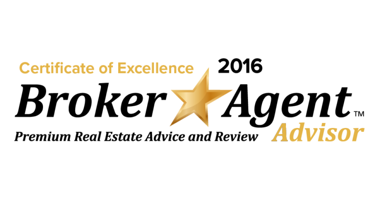 2016 Certificate of Excellence by Broker Agent Advisor