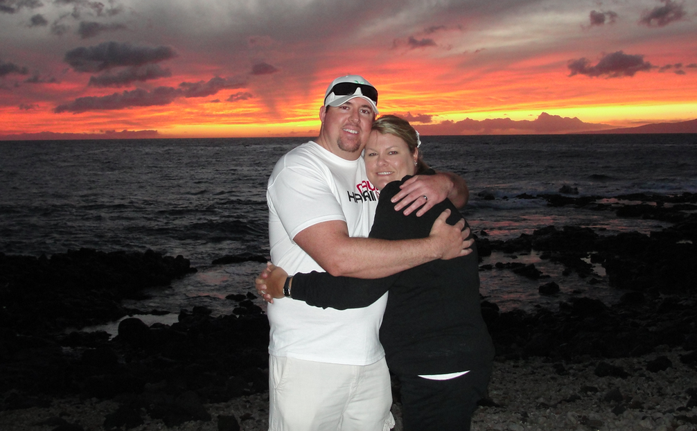 Maui Hawaii Real Estate Agent Jesse Coffey with Keller Williams Realty Maui. Photo is of Jesse and Kristina Coffey in Wailea on the beautiful island of Maui Hawaii.
