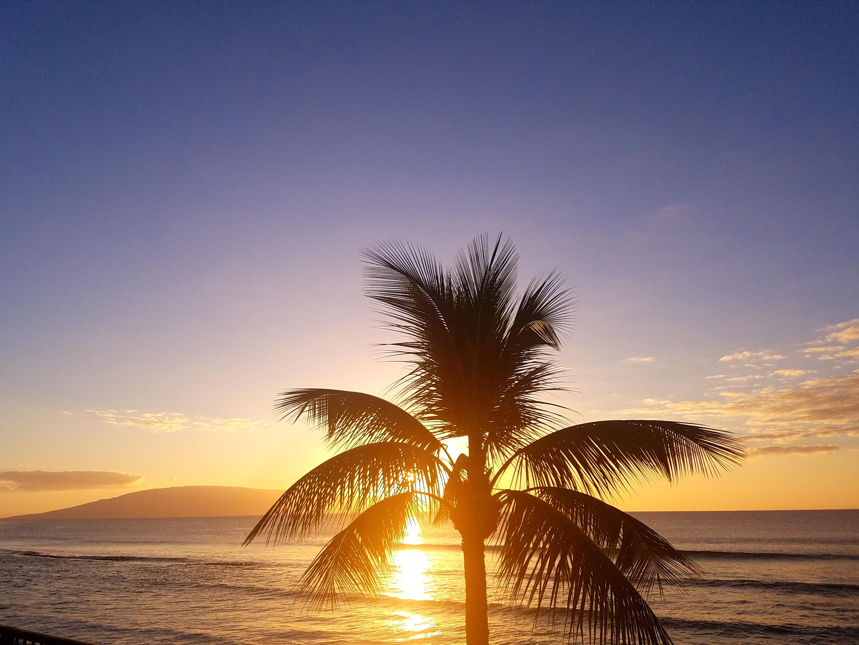 Sunset from Hale Ono Loa condominiums on Maui Hawaii.