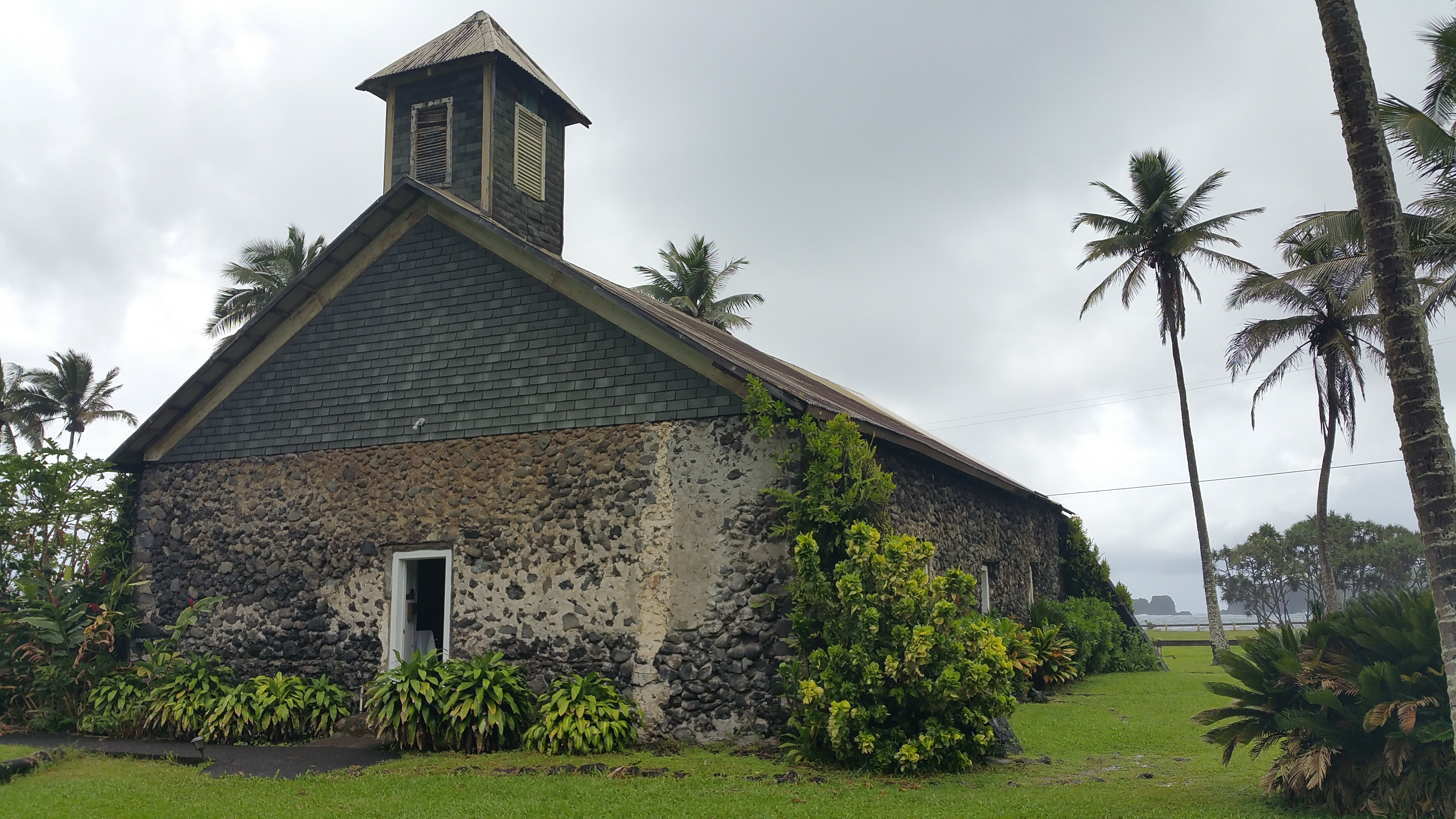 Keanae Congregational Church. Hawaiian name is Lanakila Ihiihi O Iehowa Ona Kava Church. This beautiful church made of lava rock and coral is located on Maui Hawaii.