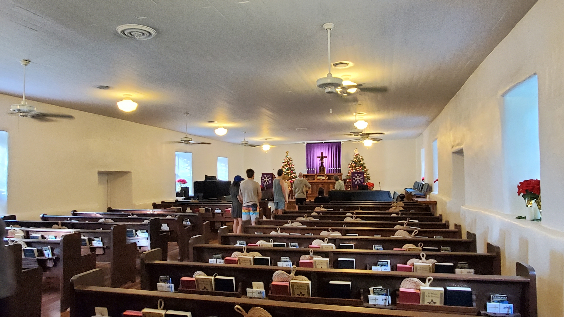 View of the interior of the Keawala'i Congregational Church.