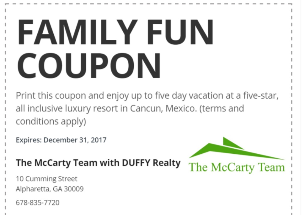 Family Vacation Coupon