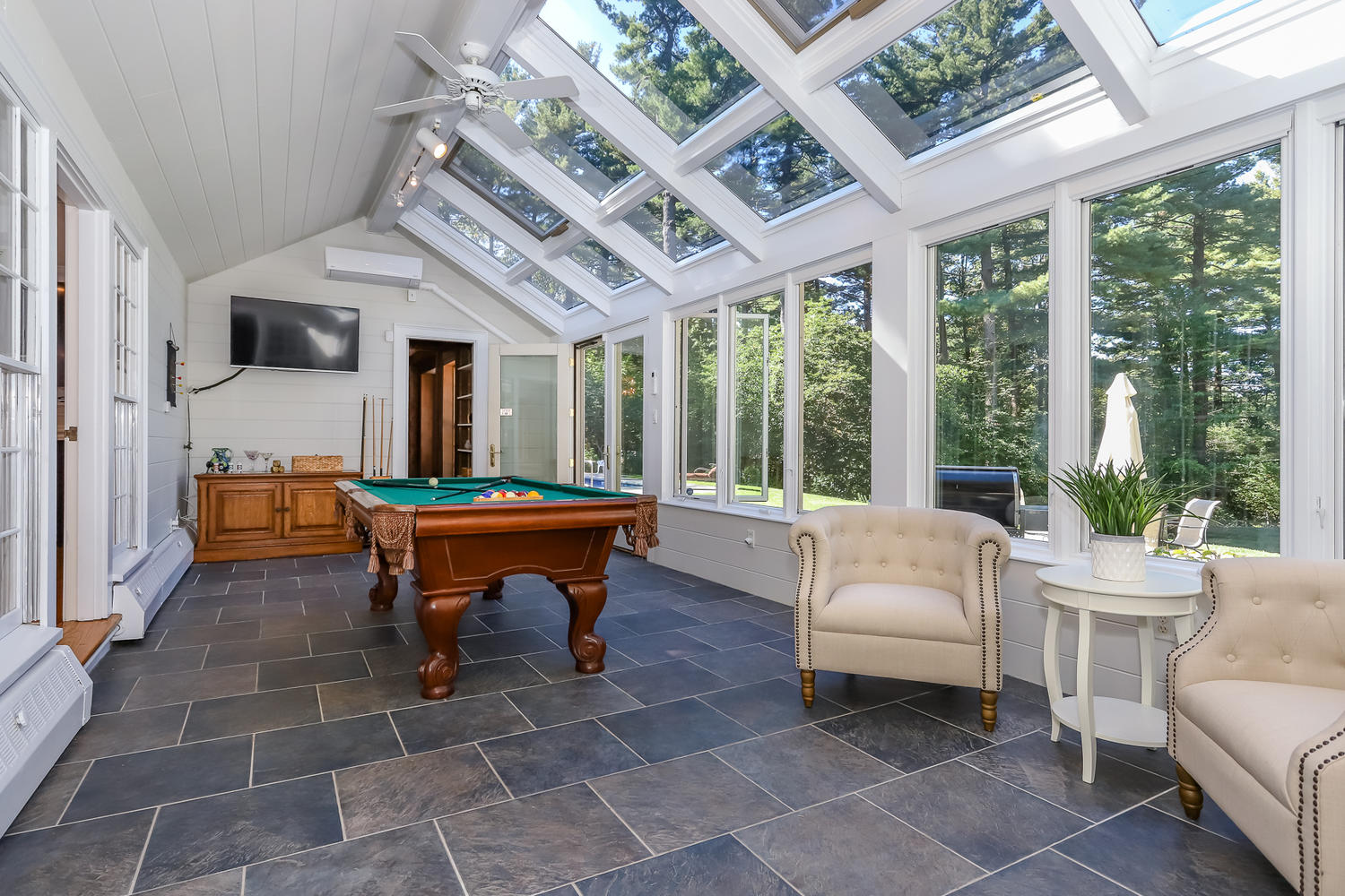 game room of magnificent estate in canton massachusetts