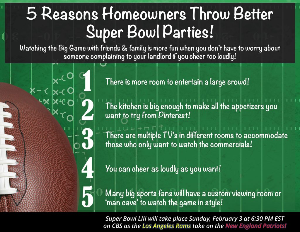 Infographic - 5 Reasons Homeowners Throw the Best Super Bowl Parties!