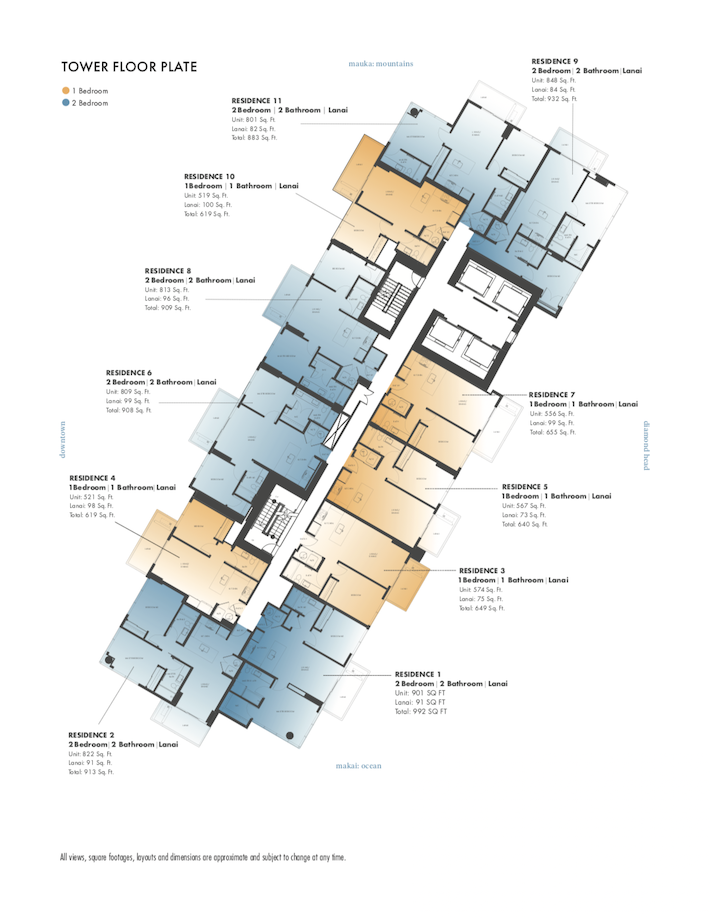 Sky Ala Moana Floor Plans
