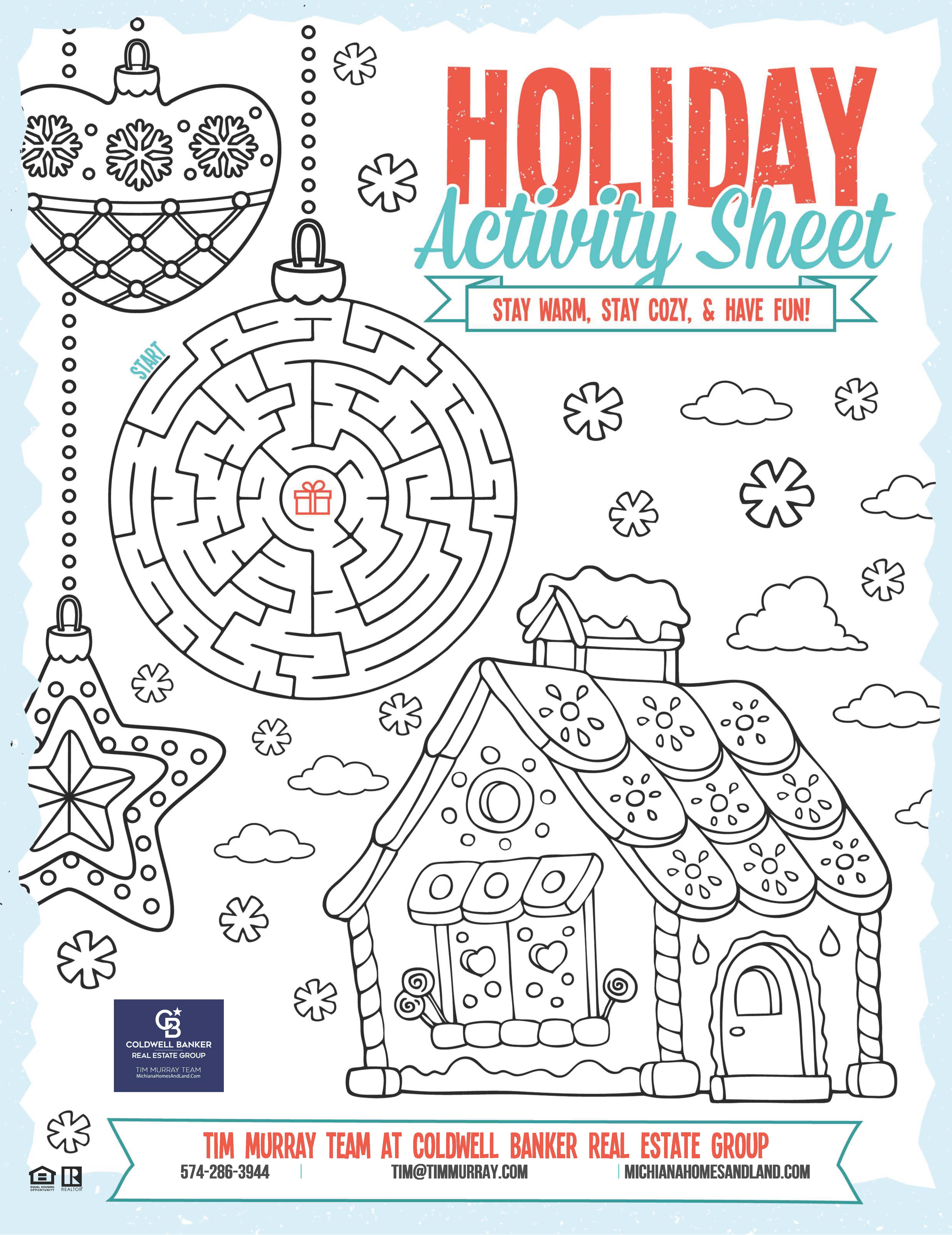 holiday home activity sheet