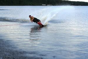 Slalom skiing on Lake Petenwell