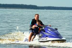 Riding waverunners on Lake Petenwell