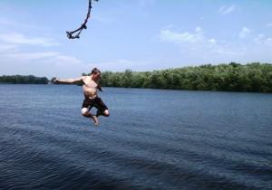 Rope swing on Lake Petenwell