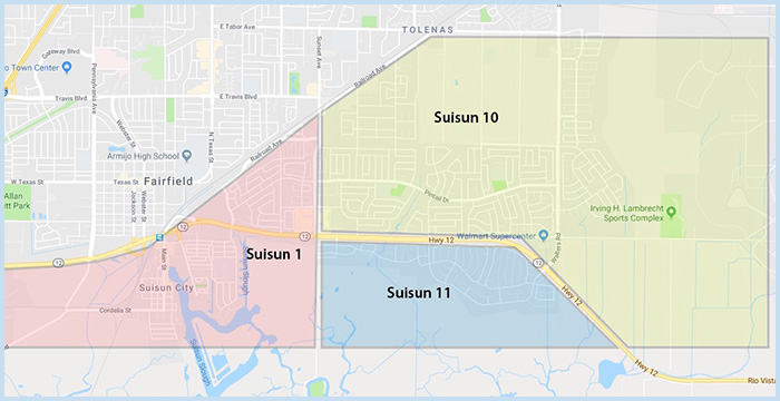 Suisun CA Real Estate Area Map