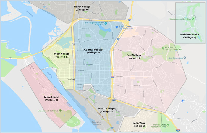 Vallejo Area Map