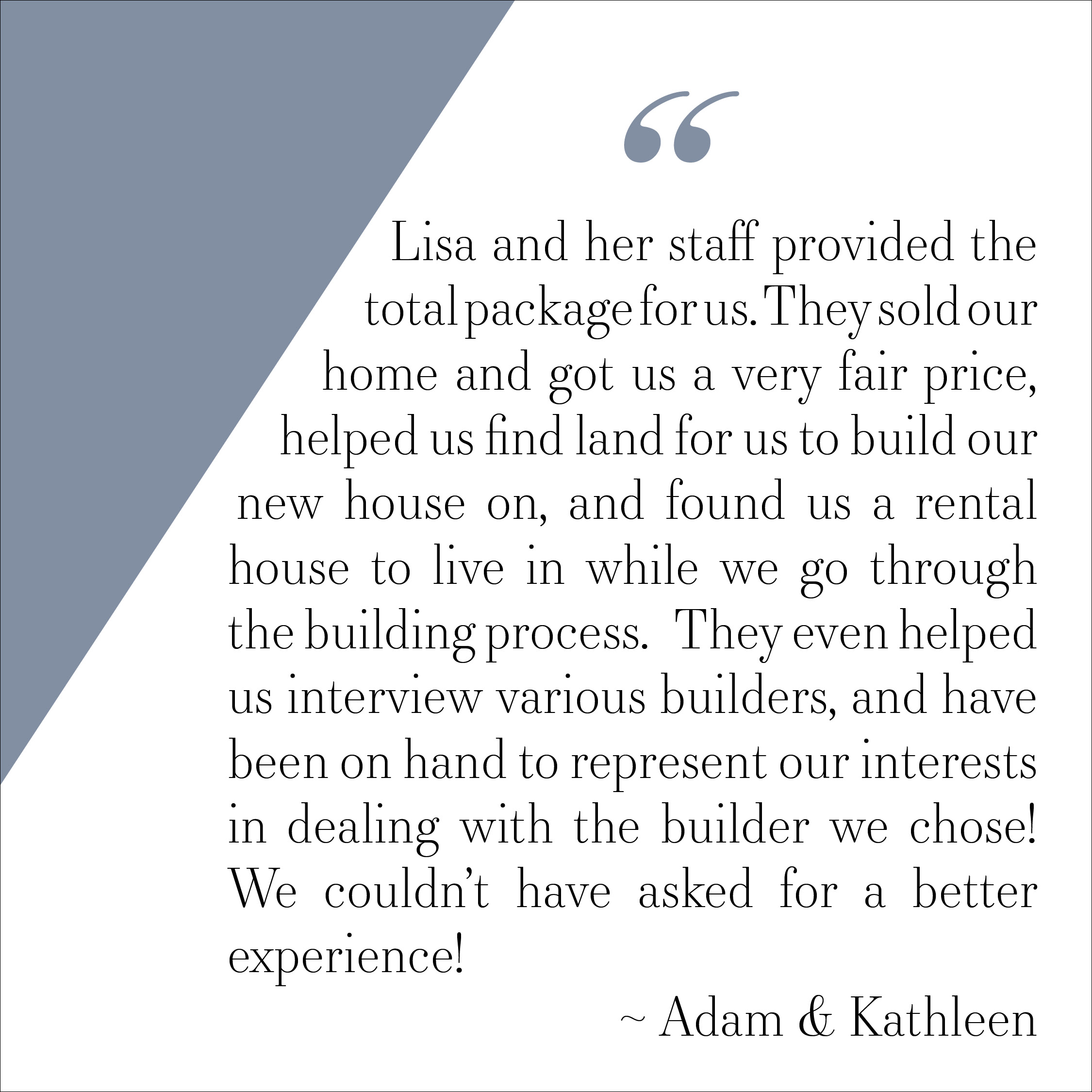 Testimonial - Adam and Kathleen Saunders