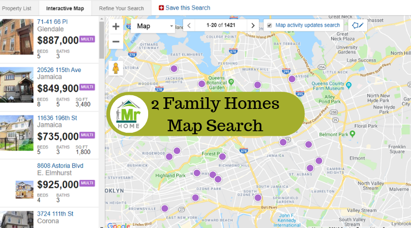 Queens NY 2 family homes interactive map search