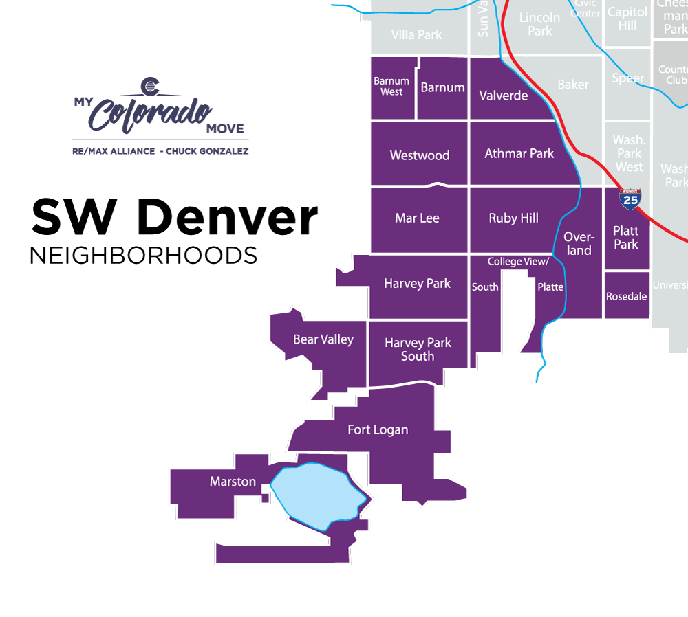 southwest denver neighborhood map