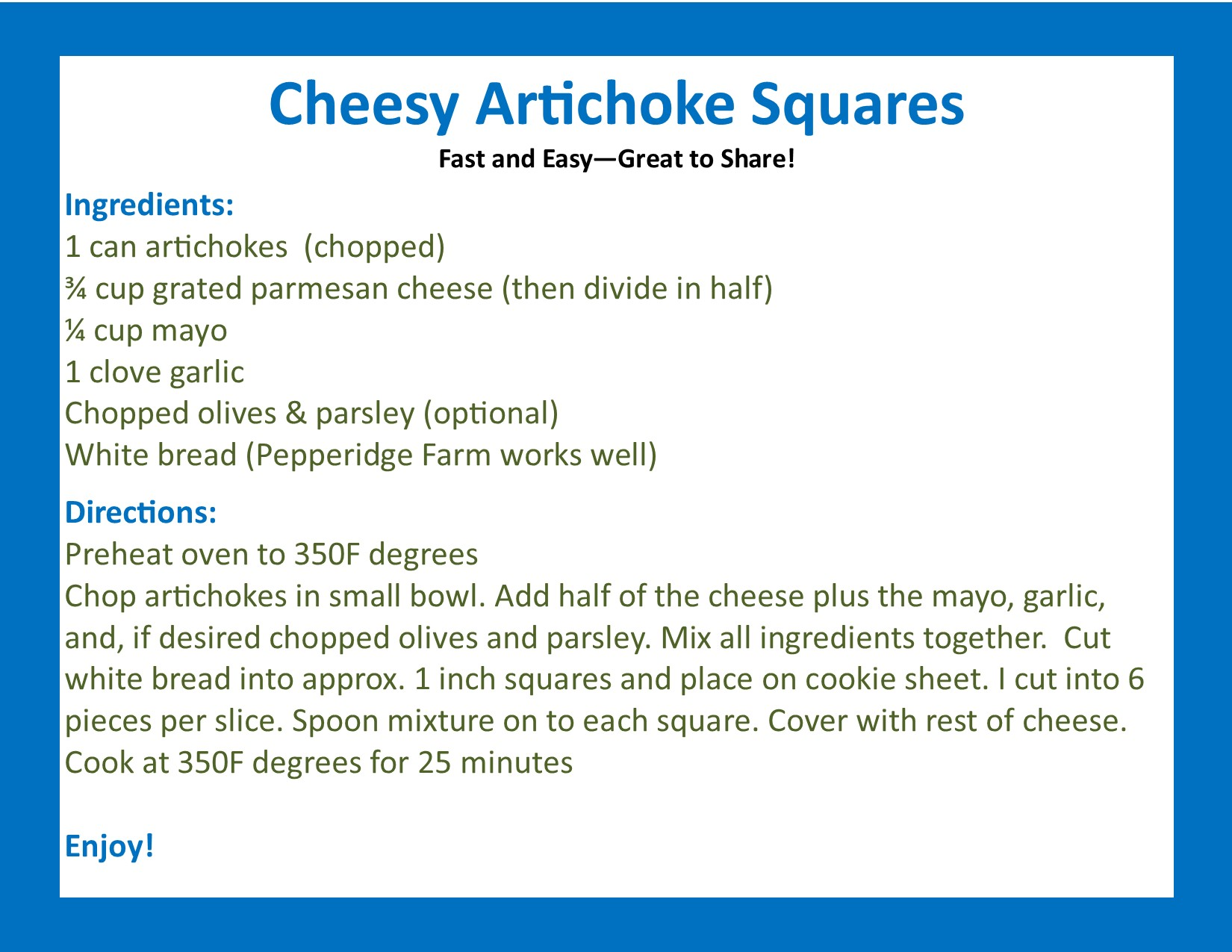 cheesy artichoke squares, Celebrating December with 30 days of JOY! Today… great recipes bring me JOY! Here is one shared with me that I love! #30daysofJOY #findingjoyeveryday #happiness #jamiejoy