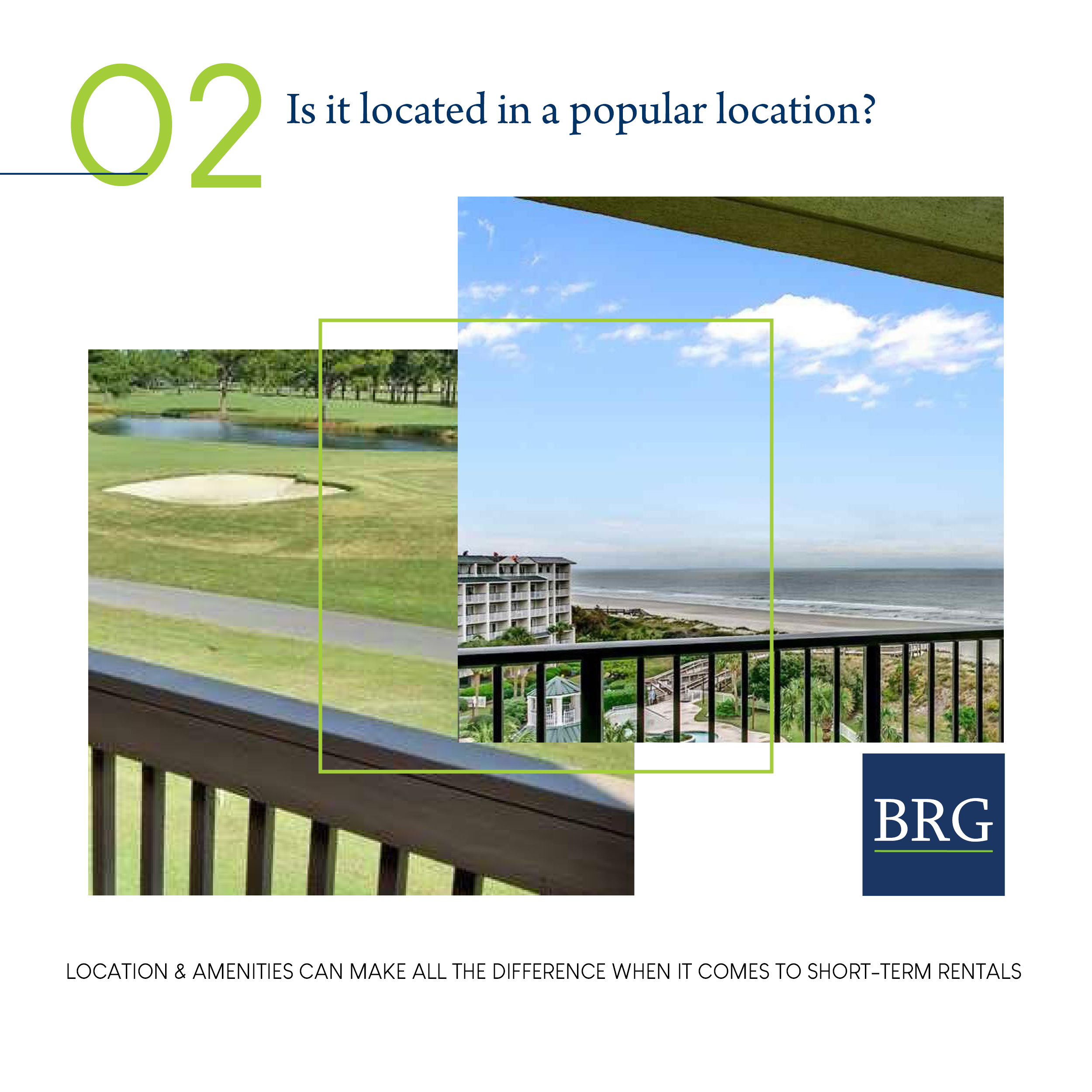 Photos of balconies overlooking ocean and golf course