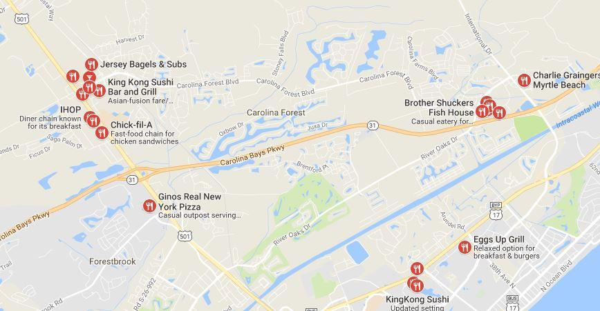 Myrtle Beach Restaurants Map