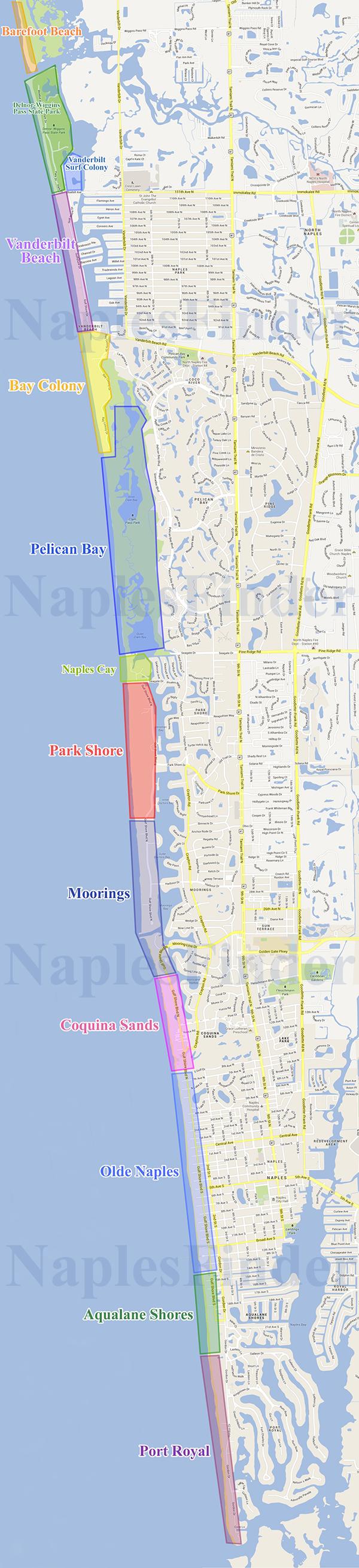 Naples Beachfront Communities Map