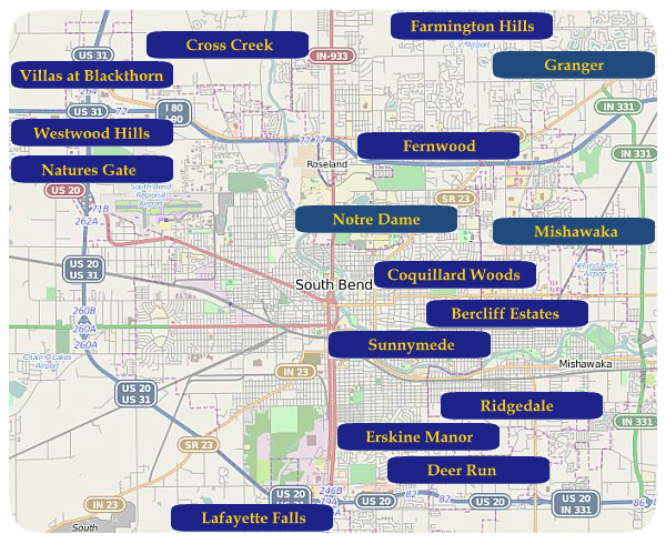 South Bend Indiana Real Estate Homes For Sale In South Bend Indiana - South bend indiana map