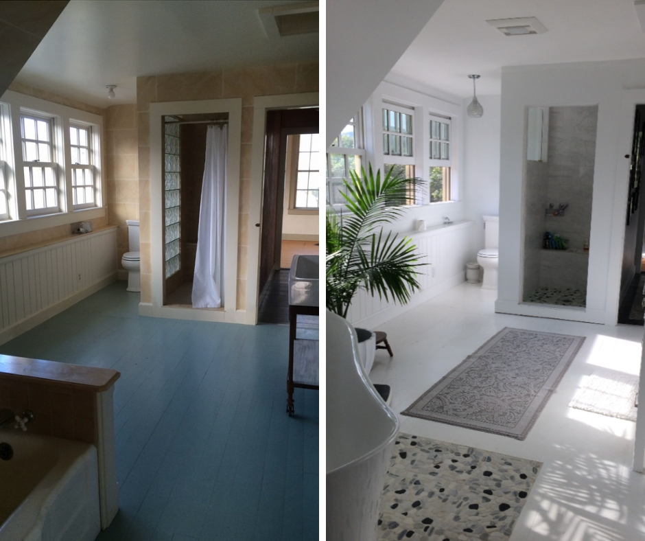 Before and after of one bathroom in the farmhouse.
