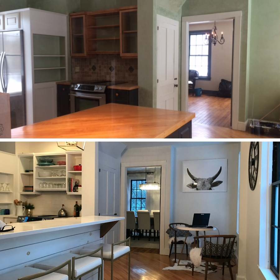 Before and after of the Farmhouse kitchen area.