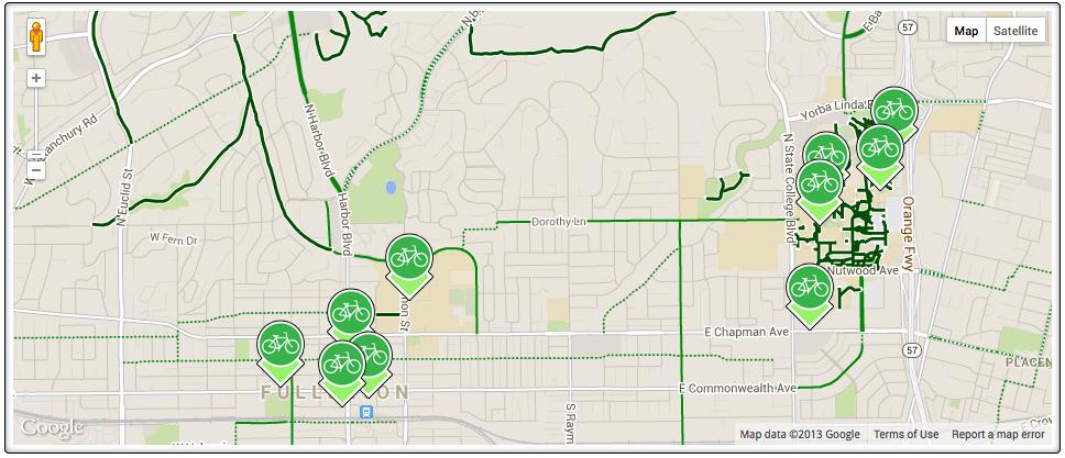Fullerton BikeLink Map