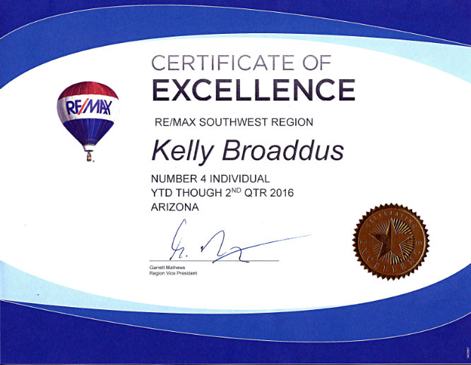 2016 Certificate of Excellence REMAX AZ Number 4 YTD through 2nd Qtr Kelly Broaddus.jpg