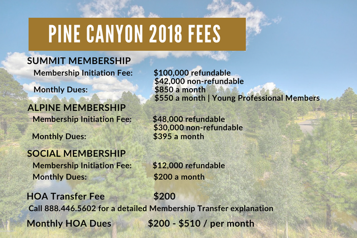 Pine Canyon Flagstaff Ranch 2018 Fees