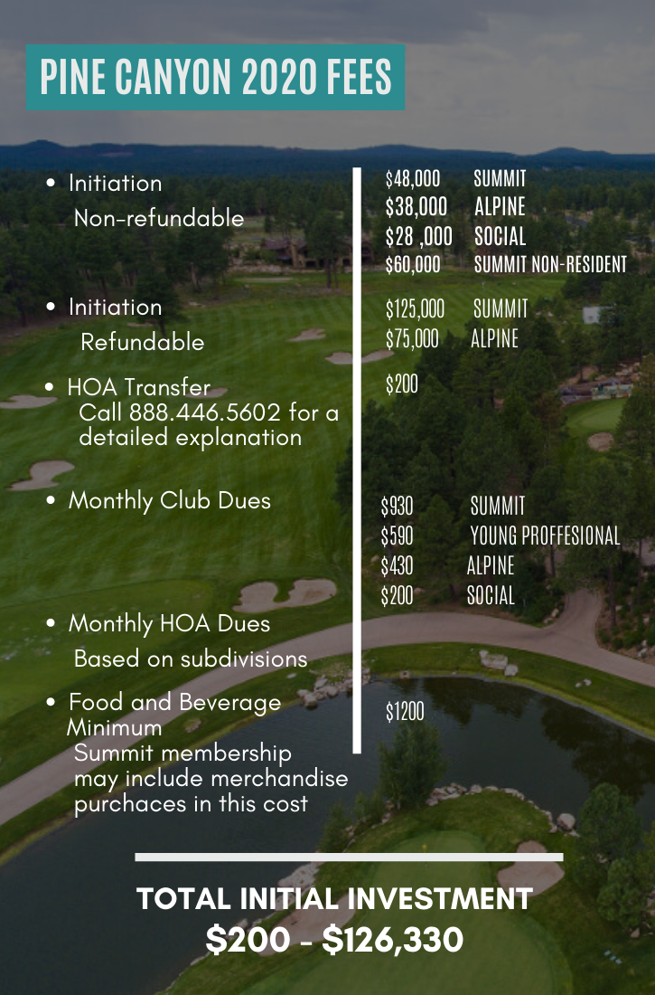 Pine Canyon Flagstaff Ranch 2020 Fees