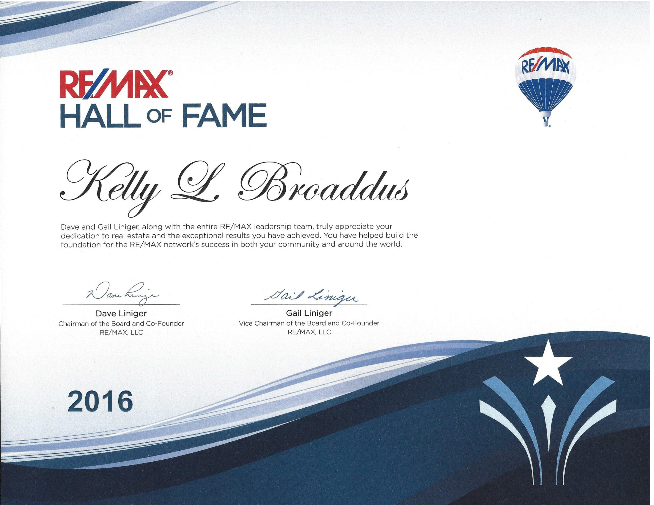 RE/MAX Hall of Fame Award-Kelly Broaddus