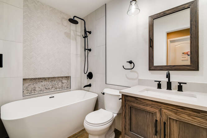Space concious modern Bathroom remodel