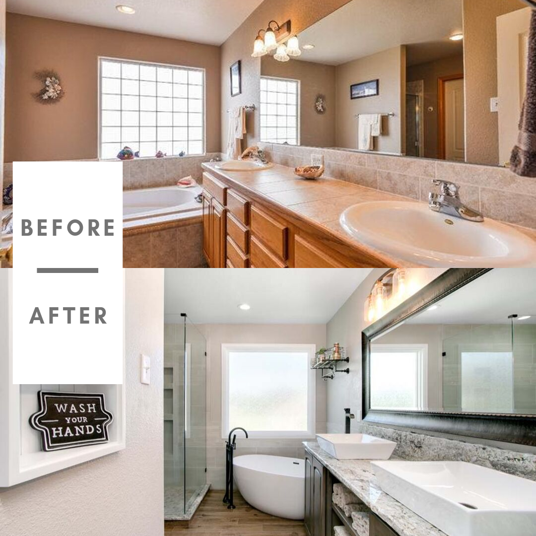 Before and After of Master Bathroom Remodel, Fort Collins Northern Colorado Rustic Home Remodel, Real Estate