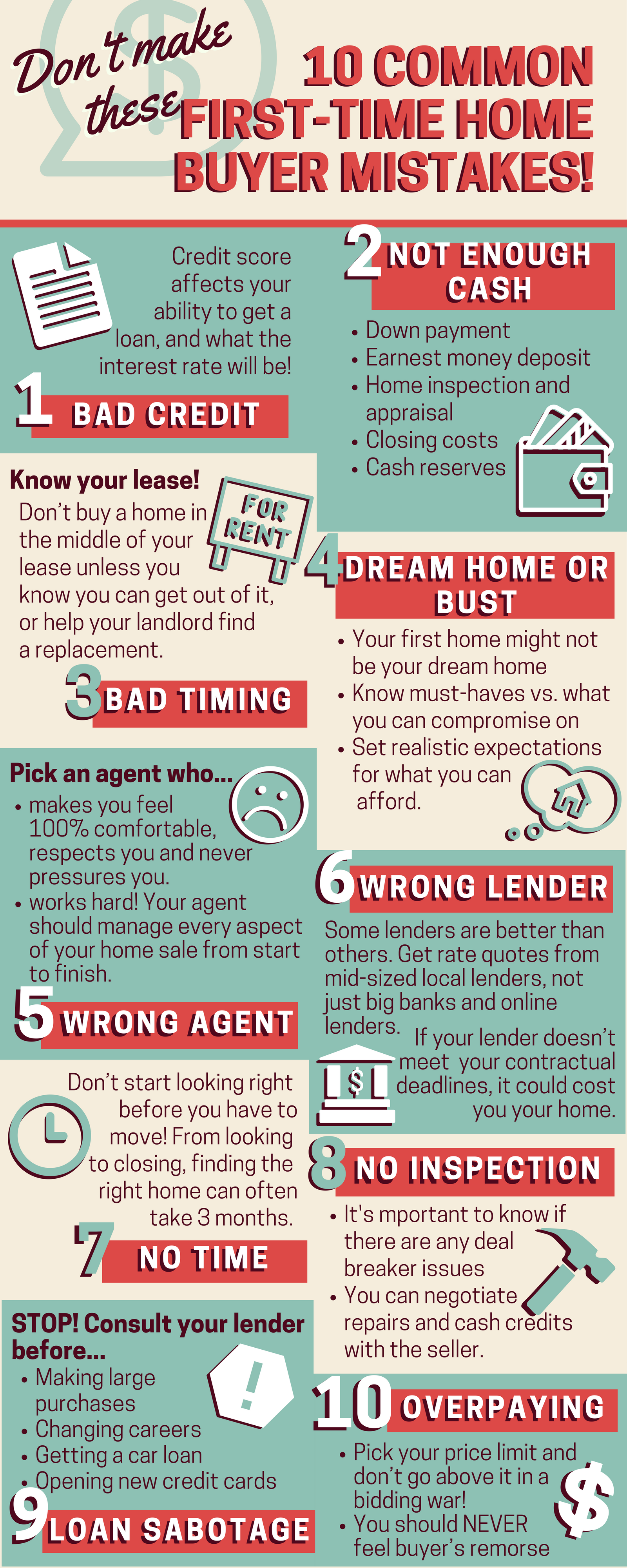 Don't make these 10 first time home buyer mistakes!