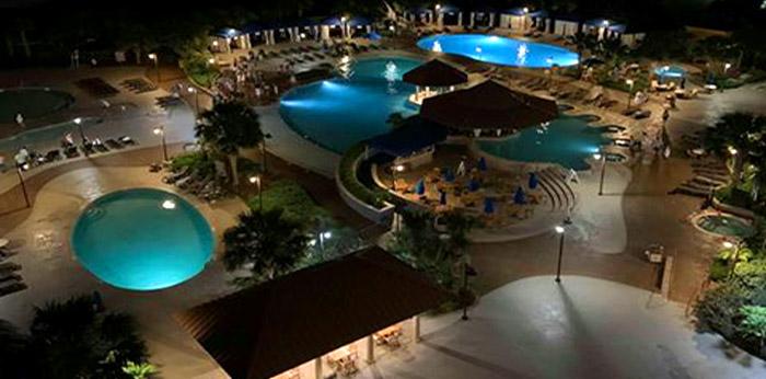 North Beach Tower Pools at Night