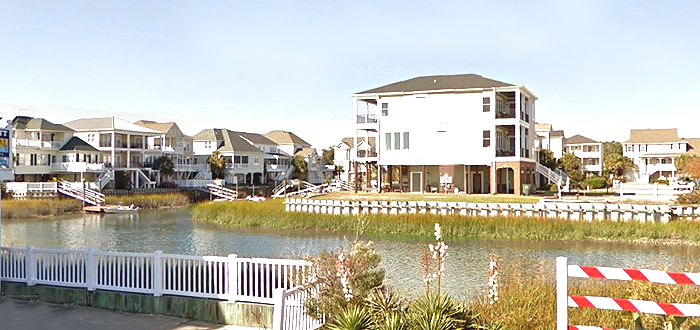 Homes on the channels in Cherry Grove