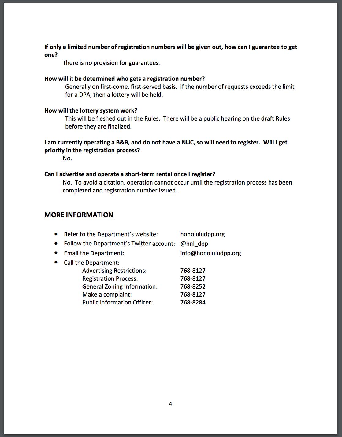 honolulu short term rental bill faq's