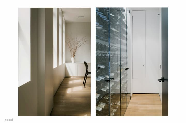 Glimpses of the dining room and wine cellar in a restrained yet distinctive Chelsea renovation.