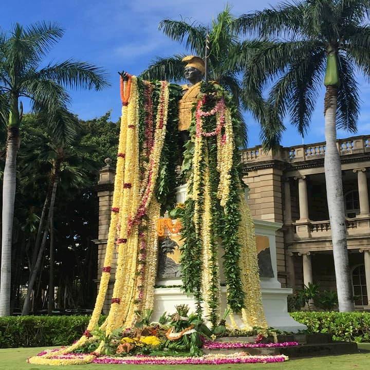 King Kamehameha with leis