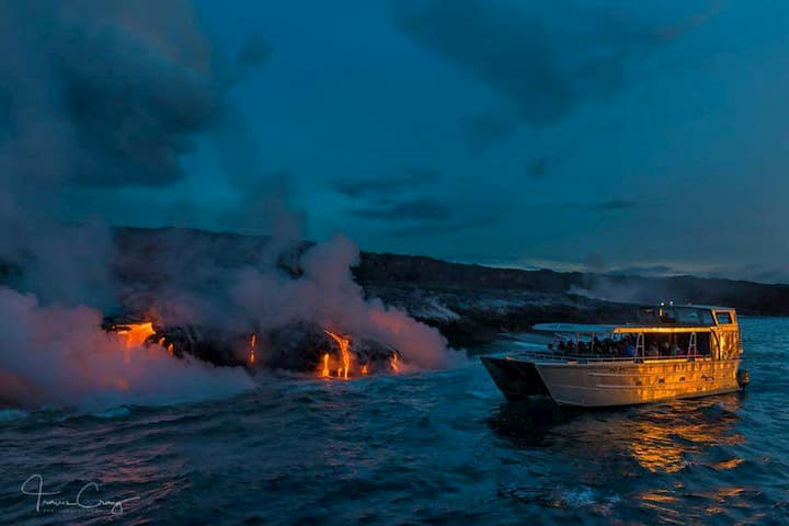 Boat Ride on Big Island: lava ocean tours