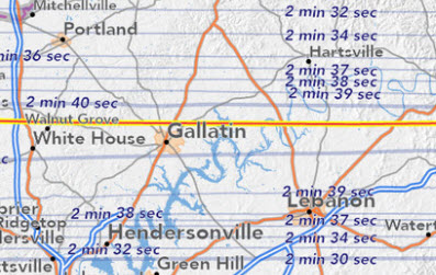 Path of Solar Eclipse over Gallatin TN
