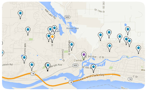 Camas WA Map Search