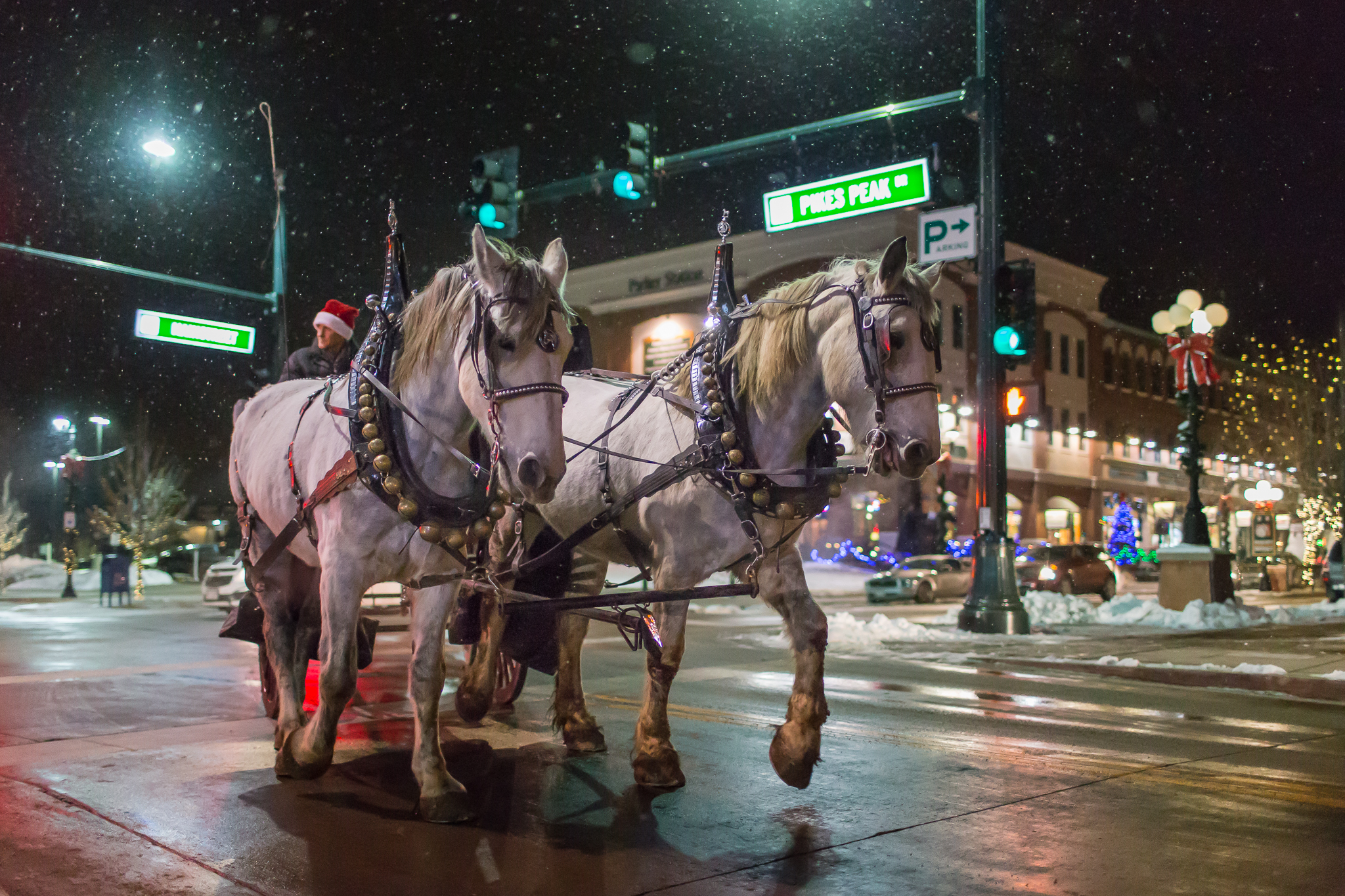Image of Christmas carriage rides in downtown Parker Colorado