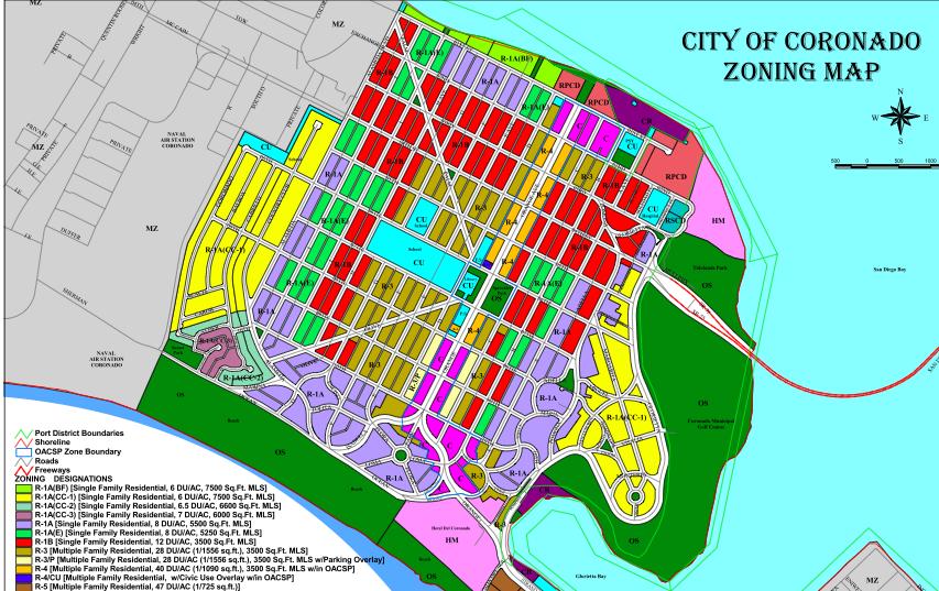 image of City of Coronado zoning map