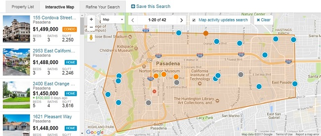 Pasadena California Interactive Map Search