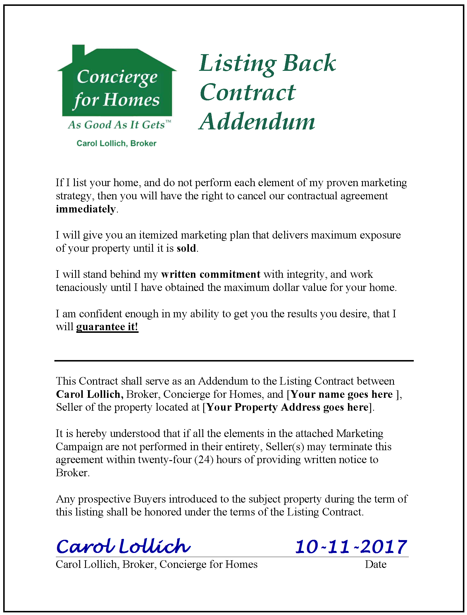 Listing Back Contract Addendum with 100% Satisfaction Guarantee